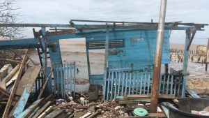 Salah satu rumah warga yang terdampak gelombang pasang