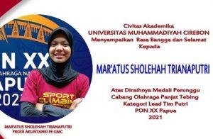 Mahasiswa UM Cirebon Berhasil Raih Medali Perunggu Cabor Panjat Tebing PON XX Papua